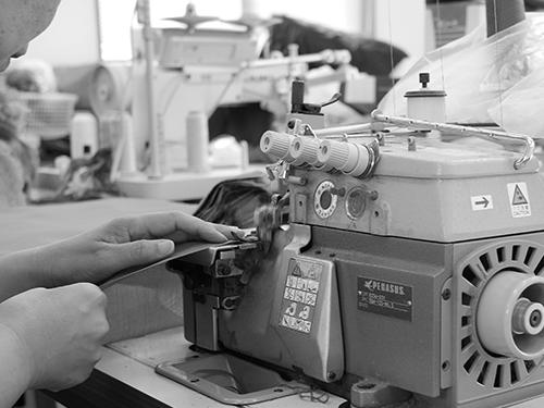 ハンカチの縫製